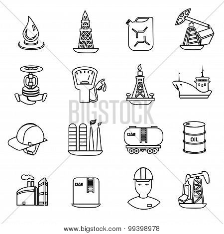 Oil and petroleum icon set, flat isolated vector illustration