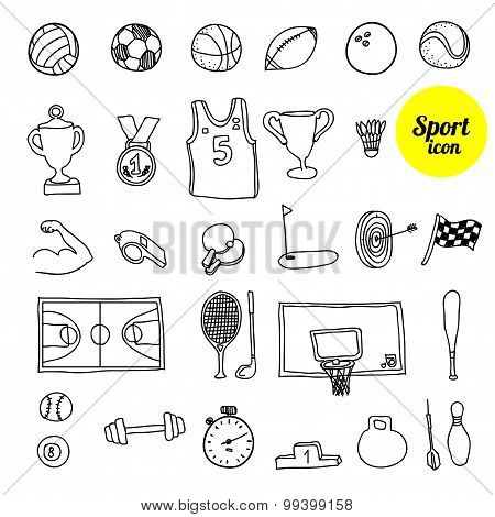 Doodle sports. Hand drawn illustration.