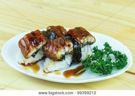 Traditional Japanese Food, Eel (unagi) Nigiri Sushi Or Unagi Kabayaki