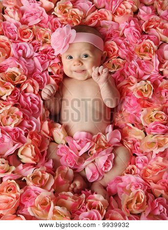 Baby lying in bed of flowers