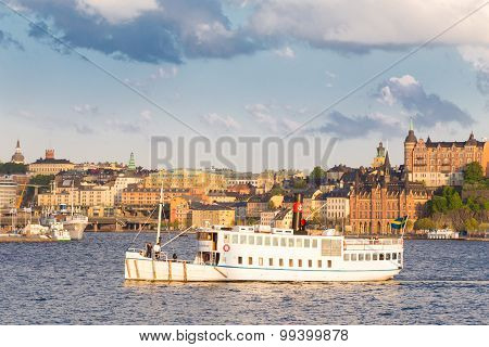 Traditional ferry in Gamla stan, Stockholm, Sweden, Europe.