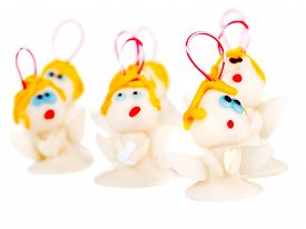 picture of christmas angel  - Angels handmade christmas decoration isolated on white made from polymer clay isolated on white background - JPG