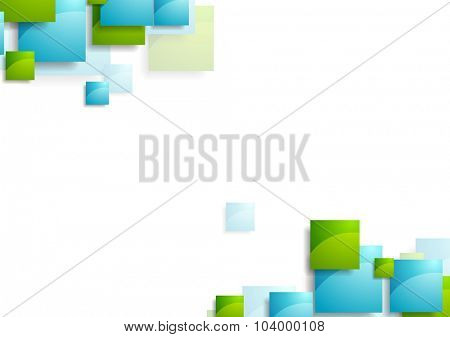 Tech geometric background with bright squares