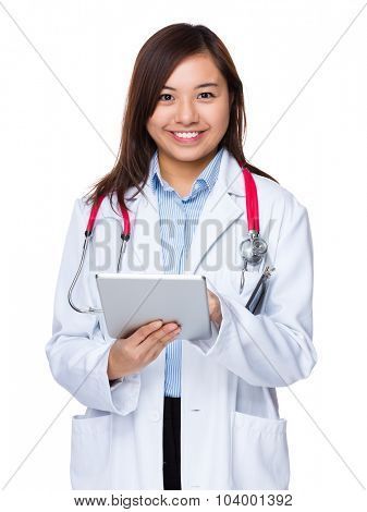 Asian doctor use of the tablet pc