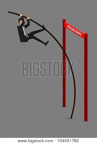 Businessman Overcoming Problems Conceptual Vector Illustration
