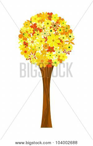 Floral mosaic yellow tree