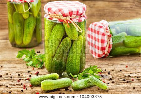 Jars of pickled marinated cucumbers