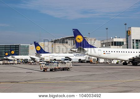Lufthansa Airplanes At The Frankfurt Airport