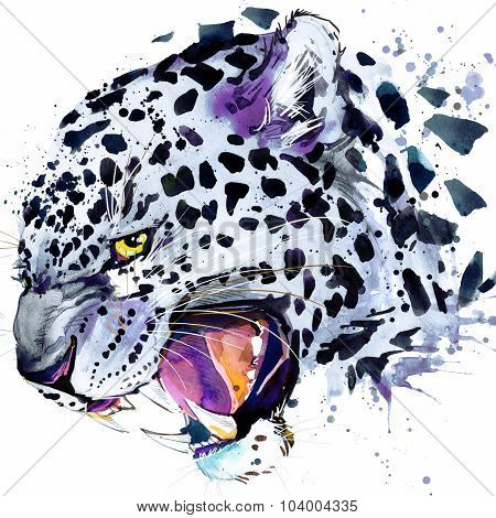 leopard growls T-shirt graphics, leopard illustration with splash watercolor textured background. il