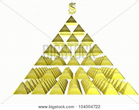 Alluring deceptive isolated pyramids topped by a golden dollar