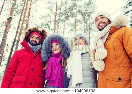love, relationship, season, friendship and people concept - group of smiling men and women walking in winter forest