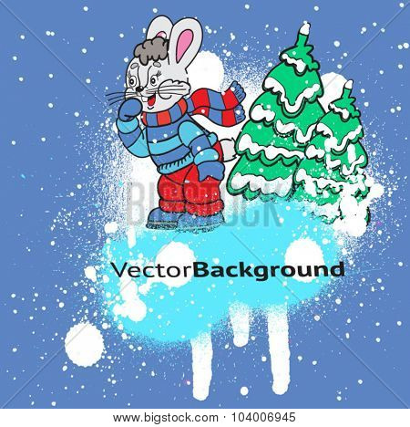Cartoon Bunny. Christmas card.