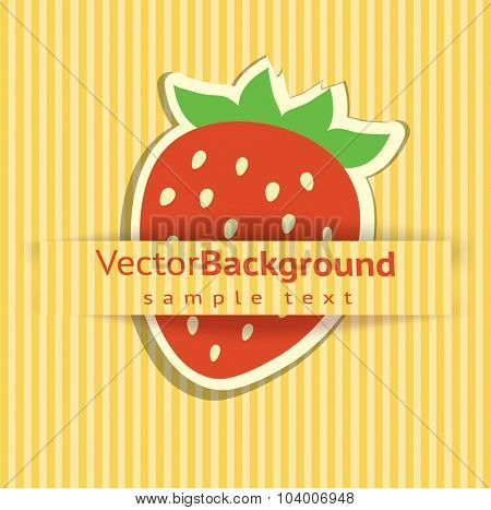 Beautiful vector background with a sticker strawberry.