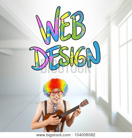 Geeky hipster in afro rainbow wig playing guitar against white room with windows