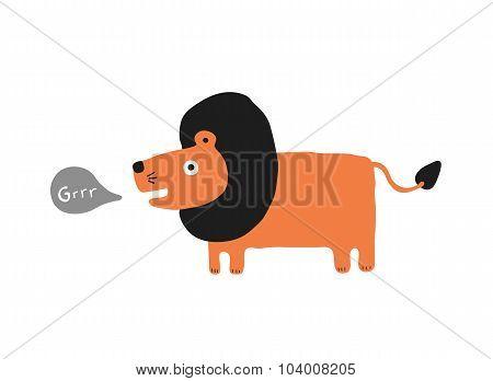 Lion Roaring Cartoon, Vector Illustration
