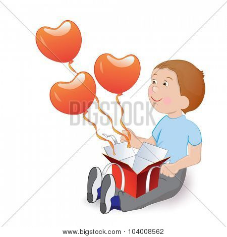 Boy with balloons in the shape of heart