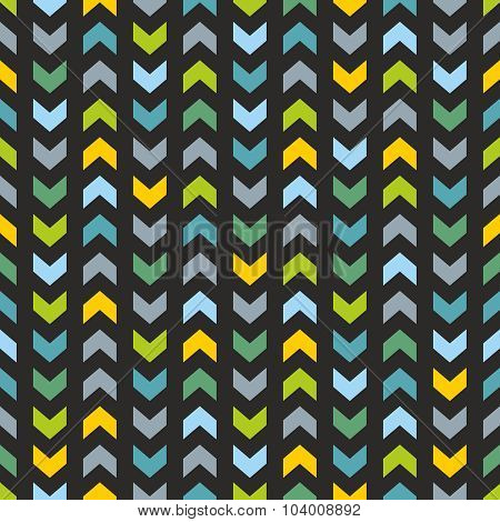 Tile vector pattern with blue and mint green zig zag print on black background
