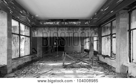 Abandoned Old Building Interior. Hall Perspective