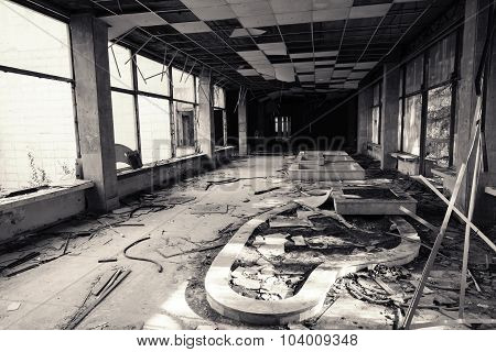 Abandoned Building Interior. Black And White