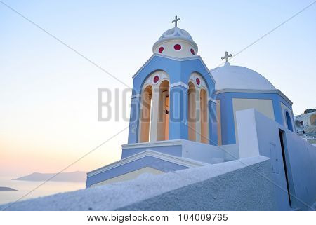 Orthodox Church building on Santorini island at evening, Greece