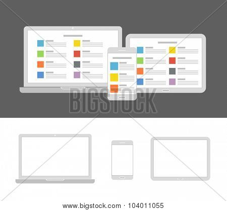 Different modern devices with same content. Flat design template