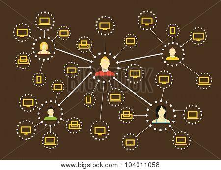 Modern web social media network scheme. Flat design concept