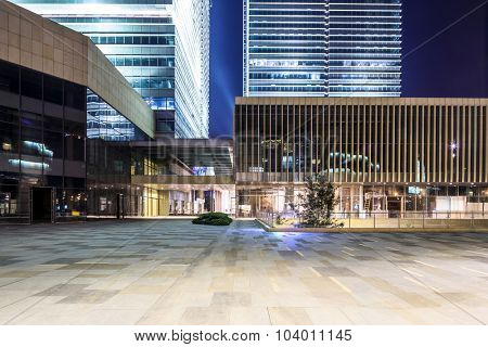 empty, modern square and shopping malls in modern city