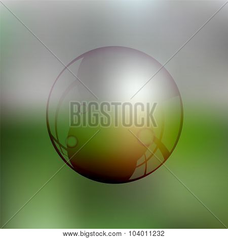 Transparent Soap Bubble On The Blurred Background-stock Vector
