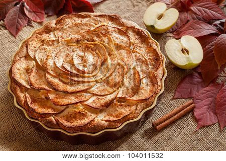 Gourmet traditional holiday apple pie sweet baked dessert food with cinnamon and apples on vintage b