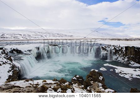 Waterfall Godafoss In Wintertime, Iceland