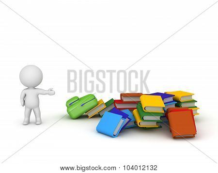 3D Character Showing Pile Of Books And Schoolbag