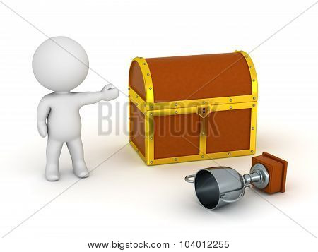 3D Character Showing Treasure Chest And Silver Trophy