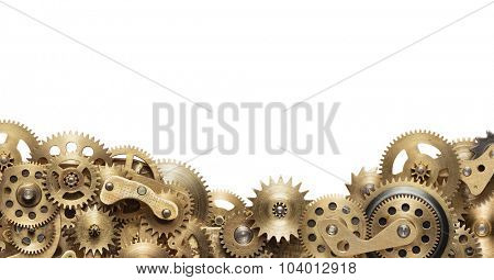 Mechanical collage made of clockwork gears on white background