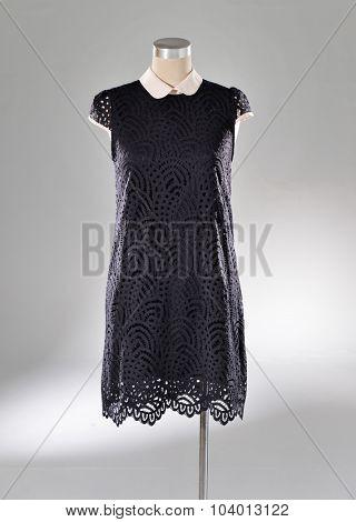 female black sundress clothing on display-light background