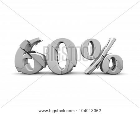 60% Text, Discount And Sales Idea Illustration.