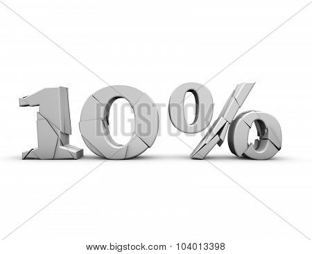 10% 3D Shattered Number, Isolated On White.