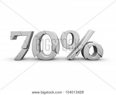 70% 3D Shattered Number, Isolated On White.