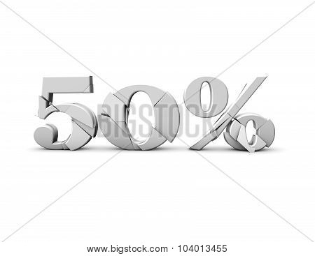 50% 3D Shattered Number, Isolated On White.