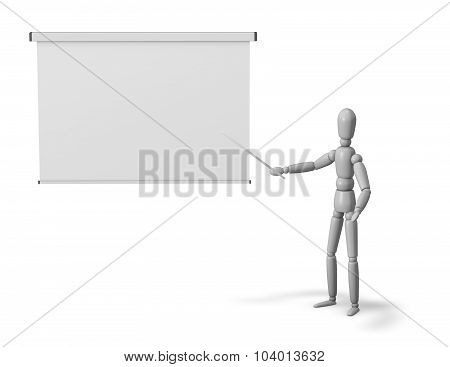 3D Puppet Showing Information On White Board.