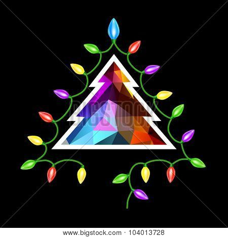 Christmas tree triangle and garland lights card  on black background. Eps 10