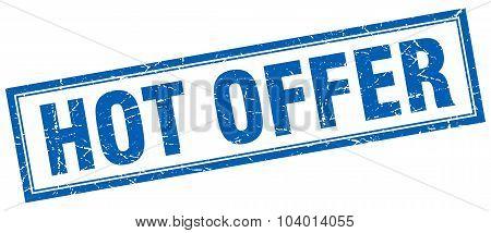 Hot Offer Blue Square Grunge Stamp On White