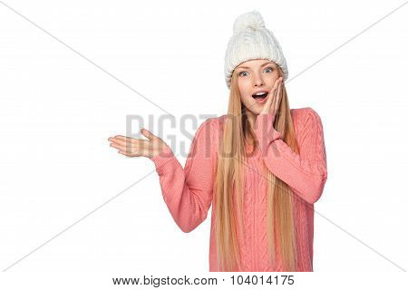 Winter woman showing blank copy space