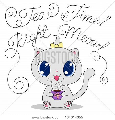 Cute Cat With Cup Of Tea