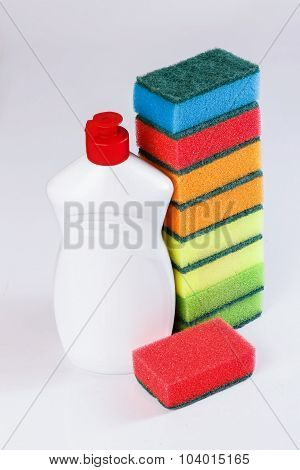 Dishwashing Detergent, Sponge, Dishes