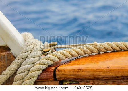 Boat Rope Detailed, Close Up Shot.