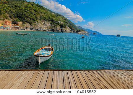 Empty Docked Boat, Monterosso Italy.