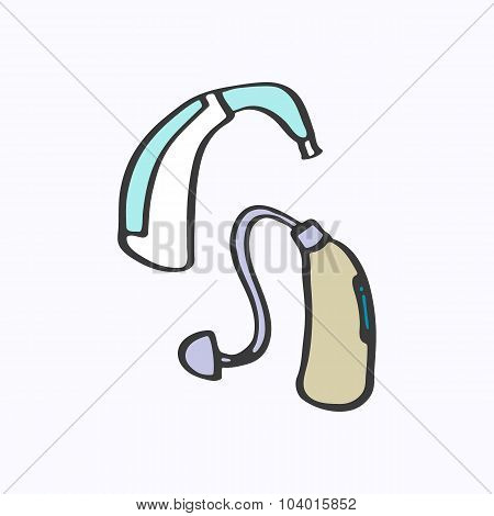 Hearing aid. Hand-drawn cartoon deaf-aid. Doodle drawing.