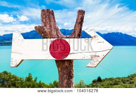 Japan Flag wooden sign with lake background