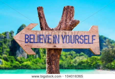 Believe in Yourself arrow with beach background