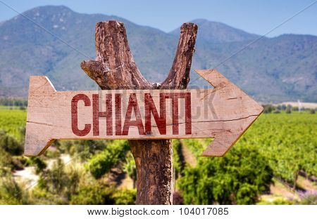 Chianti wooden sign with winery background